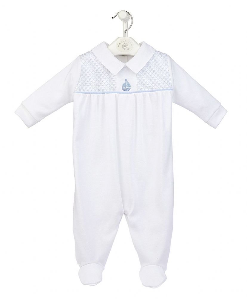 "AV2439W ""Boat"" Smocked Cotton Sleepsuit"